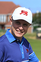 Conor Purcell (GB&I) on the 17th after winning his opening match during the Foursomes at the Walker Cup, Royal Liverpool Golf CLub, Hoylake, Cheshire, England. 07/09/2019.<br /> Picture Thos Caffrey / Golffile.ie<br /> <br /> All photo usage must carry mandatory copyright credit (© Golffile | Thos Caffrey)