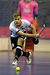 Berlin, Germany, February 09: During the FIH Indoor Hockey World Cup Pool A group match between Germany (white) and Trinidad and Tobago(red) on February 9, 2018 at Max-Schmeling-Halle in Berlin, Germany. Final score 10-2. (Photo by Dirk Markgraf / www.265-images.com) *** Local caption *** Ferdinand WEINKE #18 of Germany