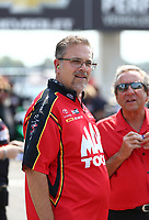 Sep 4, 2017; Clermont, IN, USA; Jim Oberhofer crew chief for NHRA top fuel driver Doug Kalitta during the US Nationals at Lucas Oil Raceway. Mandatory Credit: Mark J. Rebilas-USA TODAY Sports