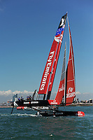 Emirates Team New Zealand, JULY 23, 2016 - Sailing: Emirates Team New Zealand heels over in light winds during day one of the Louis Vuitton America's Cup World Series racing, Portsmouth, United Kingdom. (Photo by Rob Munro/Stewart Communications)