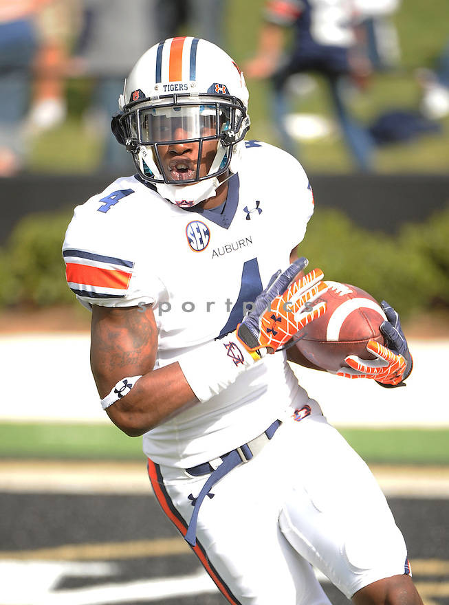 Auburn Tigers Quan Bray (4) in action during a game against Vanderbilt on October 20, 2012 at Vanderbilt Stadium in Nashville, TN. Vanderbilt beat Auburn 17-13.