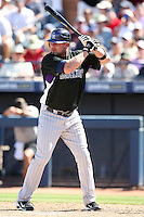 Jason Giambi, Colorado Rockies 2010 spring training, against the Seattle Mariners at Peoria Stadium, Peoria, AZ - 03/18/2010..Photo by:  Bill Mitchell/Four Seam Images.