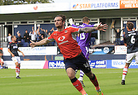 Jack Marriott of Luton Town celebrates his equalizing goal during the Sky Bet League 2 match between Luton Town and Doncaster Rovers at Kenilworth Road, Luton, England on 24 September 2016. Photo by Liam Smith.
