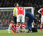 Arsenal's Aaron Ramsey goes off injured after coming on as a substitute<br /> <br /> Barclays Premier League- Arsenal vs Leicester City  - Emirates Stadium - England - 10th February 2015 - Picture David Klein/Sportimage
