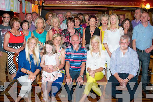 Donal O'Connor,Castleisland(seated centre)had a great night in the RiverIsland hotel,Castleisland last Friday evening after retireing from the Bank of Ireland in the town after 45yrs service surrounded by his family,friends and colleagues.