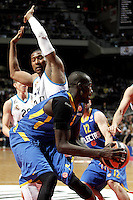 Real Madrid's Dontaye Draper and Maccabi's James during Euroliga quarter final match. April 10,2013.(ALTERPHOTOS/Alconada) /NortePhoto