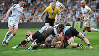 David Ewers of Exeter Chiefs scores a try during the Aviva Premiership match between Harlequins and Exeter Chiefs at The Twickenham Stoop on Saturday 7th May 2016 (Photo: Rob Munro/Stewart Communications)