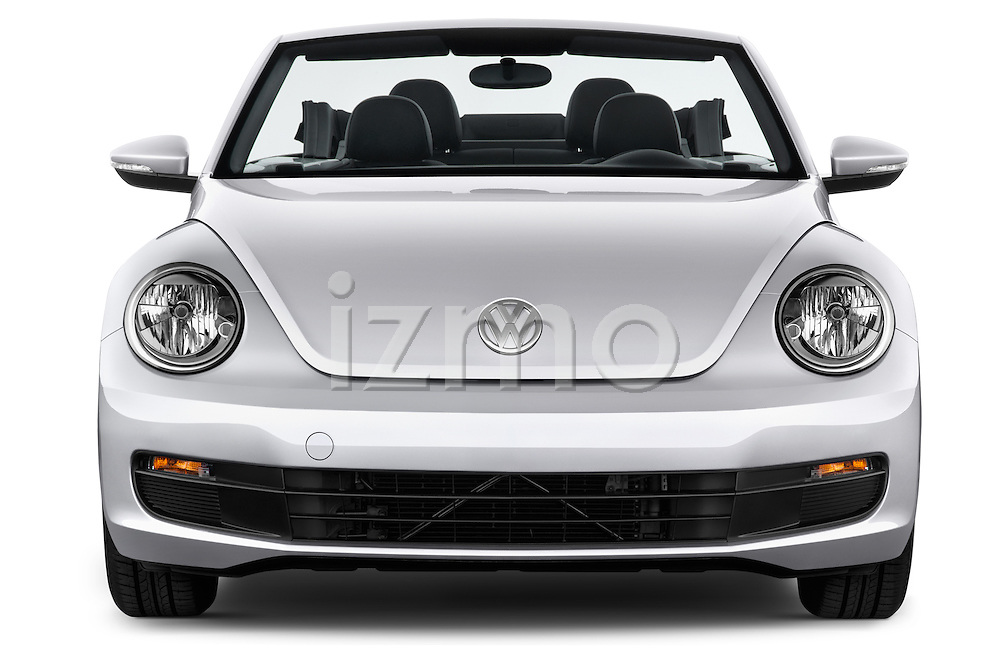 Car photography straight front view of a 2015 Volkswagen Beetle - 2 Door Convertible 2WD Front View