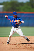 GCL Mets shortstop Milton Ramos (7) throws to first during the first game of a doubleheader against the GCL Marlins on July 24, 2015 at the St. Lucie Sports Complex in St. Lucie, Florida.  GCL Marlins defeated the GCL Mets 5-4.  (Mike Janes/Four Seam Images)