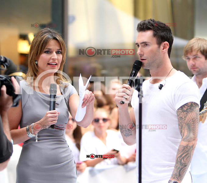 June 29, 2012 Savannah Guthrie interviews Adam Levine of Maroon 5 after their performance on NBC's Today Show Toyota Concert Series in New York City. Guthrie begins her first day as host replacing the ousted Ann Curry. &copy; RW/MediaPunch Inc. *NORTEPHOTO.COM*<br /> **CREDITO*OBLIGATORIO** *No*Venta*A*Terceros* *No*Sale*So*third* *No*Se *Permite*Hacer*Archivo**