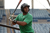 Daytona Tortugas outfielder Phillip Ervin (6) in the batting cage during practice before a game against the Tampa Yankees on April 24, 2015 at George M. Steinbrenner Field in Tampa, Florida.  Tampa defeated Daytona 12-7.  (Mike Janes/Four Seam Images)