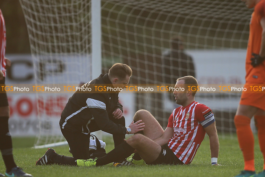 Elliot Styles of Hornchurch goes down injured during AFC Hornchurch vs Maldon & Tiptree, Ryman League Division 1 North Football at Hornchurch Stadium on 26th November 2016