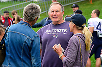 August 8, 2017: New England Patriots head coach Bill Belichick speaks to Galynn Patricia Brady (denim jacket)  at the New England Patriots training camp held at Gillette Stadium, in Foxborough, Massachusetts. Eric Canha/CSM