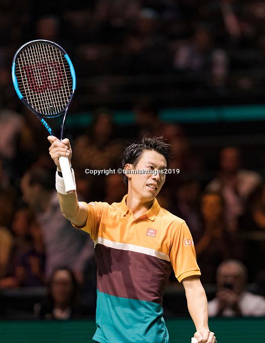 Rotterdam, The Netherlands, 14 Februari 2019, ABNAMRO World Tennis Tournament, Ahoy, Kei Nishikori (JPN)<br /> Photo: www.tennisimages.com/Henk Koster