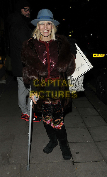 Virginia Bates.attended the Temperley London store launch party, Temperley London, Bruton St., London, England, UK, .December 5th 2012..full length  red burgundy maroon fur coat blue hat sequined sequin cardigan  crutch black boots .CAP/CAN.©Can Nguyen/Capital Pictures.
