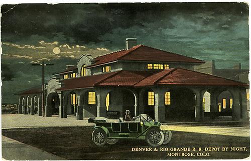 Night scene painting of Montrose depot.<br /> D&amp;RG  Montrose, CO