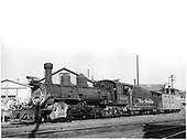 D&amp;RGW #464 K-27 connected to caboose #0505 in Durango.<br /> D&amp;RGW  Durango, CO  Taken by Payne, Andy M. - 8/9/1956