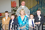 FIRST COMMUNION: Luke O'Doherty, Adam Maher, Kenny Foran and Jeremiah Carmody pupils of Tralee Educate Together pictured at their First Holy Communion in St. Brendan's Church, Tralee, on Saturday with their teacher Mairead Fernane and Fr. Patsy Lynch.   Copyright Kerry's Eye 2008