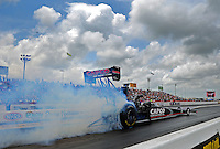 Apr. 29, 2012; Baytown, TX, USA: NHRA top fuel dragster driver Steve Torrence during the Spring Nationals at Royal Purple Raceway. Mandatory Credit: Mark J. Rebilas-