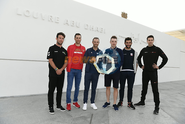 Six representatives of the peloton at the start of the 2019 UAE Tour spoke to the media this afternoon in Louvre Abu Dhabi, United Arab Emirates. 23rd February 2019.<br />