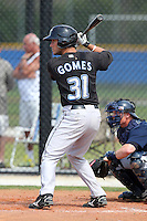 Toronto Blue Jays minor league catcher Yan Gomes #31 during a game vs the New York Yankees at the Englebert Minor League Complex in Dunedin, Florida;  March 21, 2011.  Photo By Mike Janes/Four Seam Images