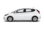 Car Driver side profile view of a 2016 Hyundai Accent SE 6-Speed Automatic 5 Door Hatchback Side View