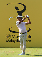 Juvic Pagunsan (PHI) on the 4th tee during Round 3 of the Maybank Malaysian Open at the Kuala Lumpur Golf & Country Club on Saturday 7th February 2015.<br /> Picture:  Thos Caffrey / www.golffile.ie