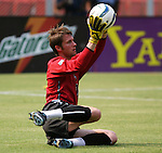 3 July 2004: MetroStars goalkeeper Jonny Walker warms up before the game. DC United defeated the MetroStars 6-2 at RFK Stadium in Washington, DC during a regular season Major League Soccer game..