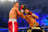 Daniyar Yeleussinov (black shorts) defeats Zoltan Szabo during a Boxing Show at York Hall on 6th June 2018
