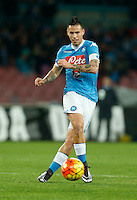 Napoli's Marek Hamsik controls the ball during the  italian serie a soccer match,between SSC Napoli and Sassuolo    at  the San  Paolo   stadium in Naples  Italy , January 17, 2016