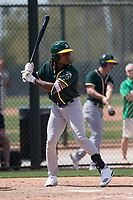Oakland Athletics center fielder JaVon Shelby (13) during a Minor League Spring Training game against the San Francisco Giants at Lew Wolff Training Complex on March 26, 2018 in Mesa, Arizona. (Zachary Lucy/Four Seam Images)