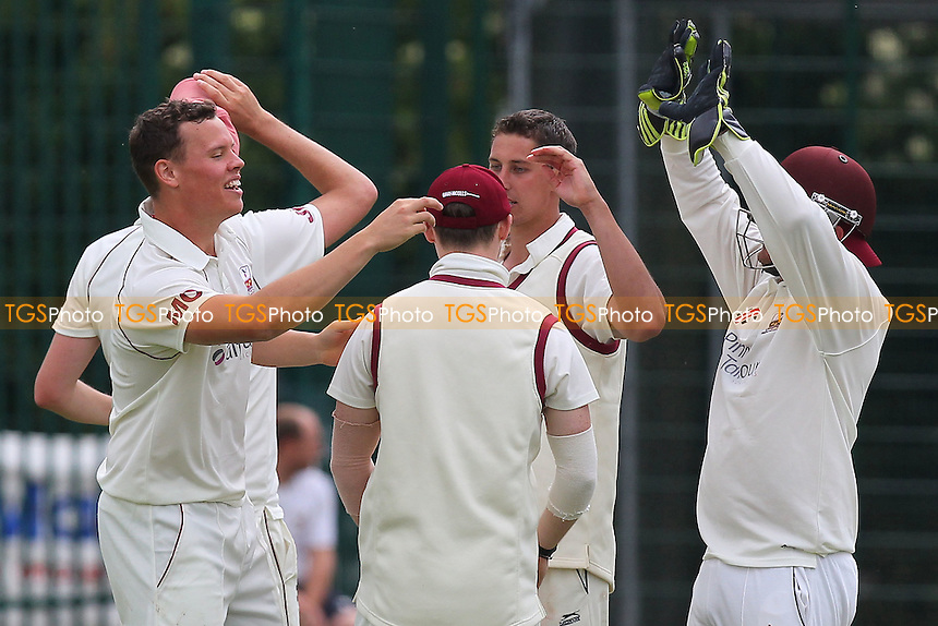 Brentwood players celebrate the wicket of Billy Gordon of Upminster - Upminster CC vs Brentwood CC - Essex Cricket League - 07/06/14 - MANDATORY CREDIT: Gavin Ellis/TGSPHOTO - Self billing applies where appropriate - 0845 094 6026 - contact@tgsphoto.co.uk - NO UNPAID USE