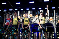 Grand Tour rookie Wout van Aert (BEL/Jumbo - Visma) greeting the crowd<br /> <br /> Official 106th Tour de France 2019 Teams Presentation at the Central Square (Grote Markt) in Brussels (Belgium)<br /> <br /> ©kramon