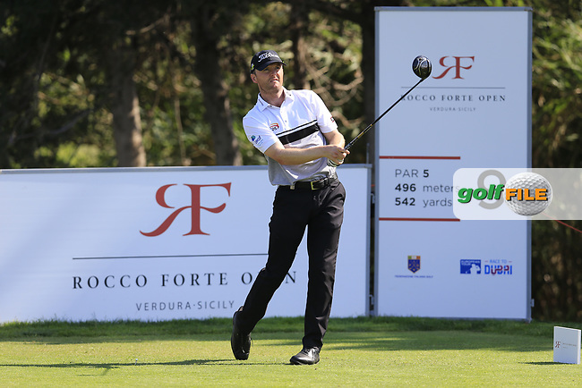 Michael Hoey (NIR) on the 9th during the 1st round the The Rocco Forte Open, Verdura Golf &amp; Spa Resort, Agrigento, Sicily, Italy. 18/05/2017.<br /> Picture: Golffile   Fran Caffrey<br /> <br /> <br /> All photo usage must carry mandatory copyright credit (&copy; Golffile   Fran Caffrey)
