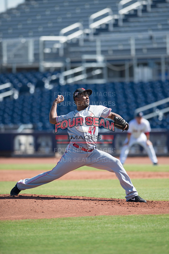 Scottsdale Scorpions starting pitcher Wendolyn Bautista (47), of the Cincinnati Reds organization, delivers a pitch to the plate during a game against the Peoria Javelinas on October 19, 2017 at Peoria Stadium in Peoria, Arizona. The Scorpions defeated the Javelinas 13-7.  (Zachary Lucy/Four Seam Images)