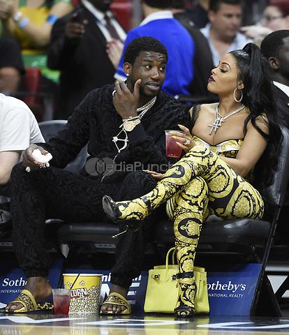 Rapper Gucci Mane and Keyshia Ka'Oi at Los Angeles Lakers vs