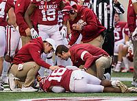 Hawgs Illustrated/BEN GOFF <br /> Trainers tend to Treylon Burks, Arkansas wide receiver, in the second quarter vs Missouri Saturday, Nov. 29, 2019, at War Memorial Stadium in Little Rock.
