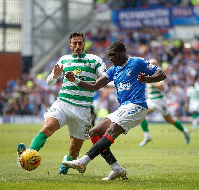 01.09.2019 Rangers v Celtic: Sheyi Ojo and Hatem El Hamed