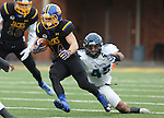 BROOKINGS, SD - DECEMBER 3:  Brady Mengarelli #44 from South Dakota State scampers past xxxxxxx #45 from Villanova during their second round playoff game Saturday afternoon at Dana J. Dykhouse Stadium in Brookings, SD. (Photo by Dave Eggen/Inertia)