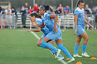 Piscataway, NJ - Saturday Aug. 27, 2016: Vanessa DiBernardo, Samantha Johnson, Sofia Huerta prior to a regular season National Women's Soccer League (NWSL) match between Sky Blue FC and the Chicago Red Stars at Yurcak Field.