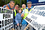 Joanne and John Horwood, Essex, England, who have been enjoying jaunting car trips in Killarney for the last ten years, were dismayed when they discovered the jarveys had been stopped from entering the National Park. Pictured with them on Friday are Killarney jarveys Gearoid Kearney, Pat Joy and Patrick O'Sullivan....