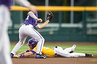 LSU Tigers outfielder Jake Fraley (23) slides into second base against the TCU Horned Frogs in Game 10 of the NCAA College World Series on June 18, 2015 at TD Ameritrade Park in Omaha, Nebraska. TCU defeated the Tigers 8-4, eliminating LSU from the tournament. (Andrew Woolley/Four Seam Images)