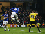 Everton's Romelu Lukaku scoring his second goal during the Premier League match at Vicarage Road Stadium, London. Picture date December 10th, 2016 Pic David Klein/Sportimage