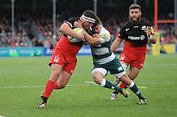 Jamie George of Saracens is tackled by Ben Youngs of Leicester Tigers during the Aviva Premiership semi final match between Saracens and Leicester Tigers at Allianz Park on Saturday 21st May 2016 (Photo: Rob Munro/Stewart Communications)