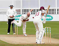 Darren Stevens of Kent bowls to Richard Gleeseon during the County Championship Division Two (day 3) game between Kent and Northants at the St Lawrence ground, Canterbury, on Sept 4, 2018.