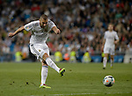 Real Madrid's French forward Karim Benzema kicks ball during the Spanish league football match Real Madrid Madrid vs U.D Almeria at the Santiago Bernabeu stadium in Madrid on April 12, 2014  PHOTOCALL3000 / DP