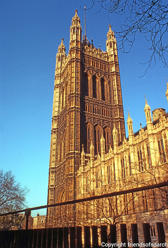 London: Houses of Parliament. Southern Wall & Southeast Tower.  Photo '79.