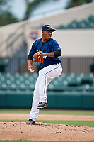 Lakeland Flying Tigers relief pitcher Gerson Moreno (36) delivers a pitch during the first game of a doubleheader against the St. Lucie Mets on June 10, 2017 at Joker Marchant Stadium in Lakeland, Florida.  Lakeland defeated St. Lucie 6-5 in fourteen innings.  (Mike Janes/Four Seam Images)