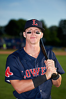 Lowell Spinners Brett Netzer (18) poses for a photo before a game against the Batavia Muckdogs on July 11, 2017 at Dwyer Stadium in Batavia, New York.  Lowell defeated Batavia 5-2.  (Mike Janes/Four Seam Images)
