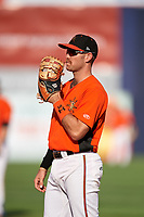 Frederick Keys first baseman Collin Woody (21) during the first game of a doubleheader against the Lynchburg Hillcats on June 12, 2018 at Nymeo Field at Harry Grove Stadium in Frederick, Maryland.  Frederick defeated Lynchburg 2-1.  (Mike Janes/Four Seam Images)